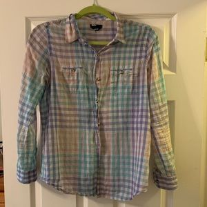 Pastel plaid button down